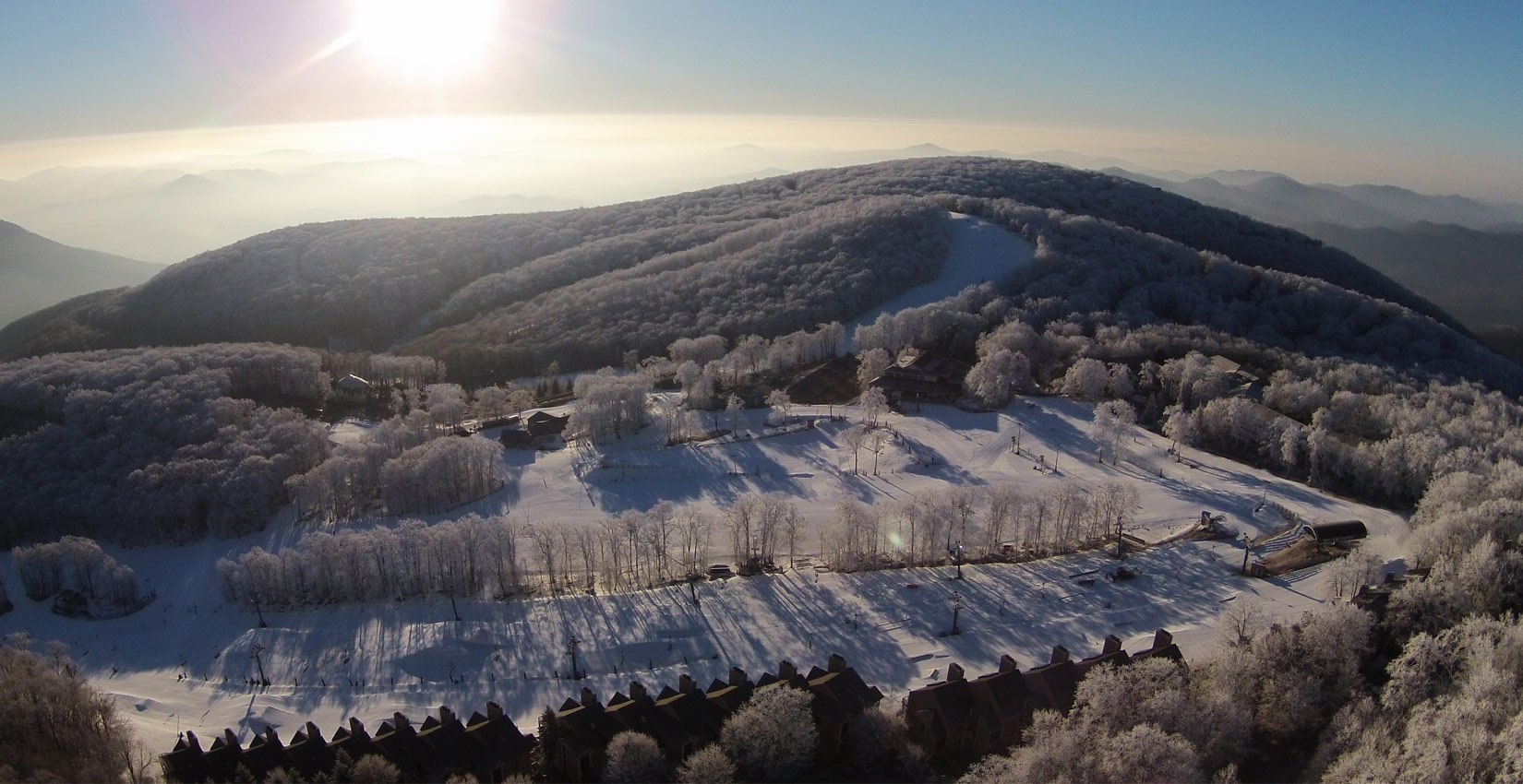 frosty snowy morning at Wintergreen Resort in virginia