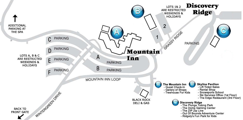 Wintergreen Resort Parking Map