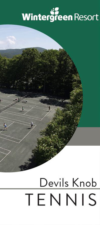 tennis brochure image with view of tennis courts