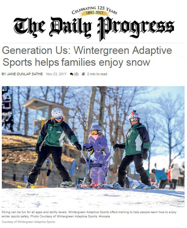 wintergreen adaptive sports story in the daily progress