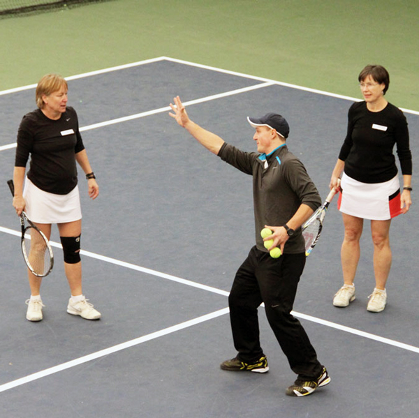 tennis instruction on the court
